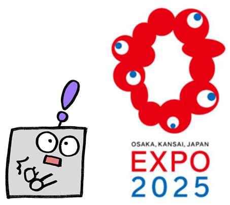 リノビーと大阪万博ロゴ